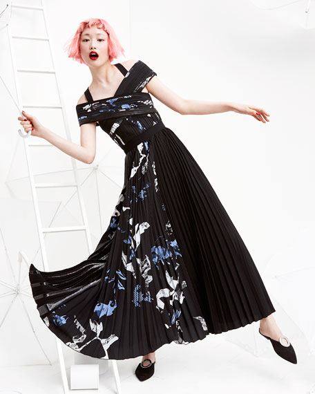 Long Pleated Floral-Print Dress, Multi Pattern