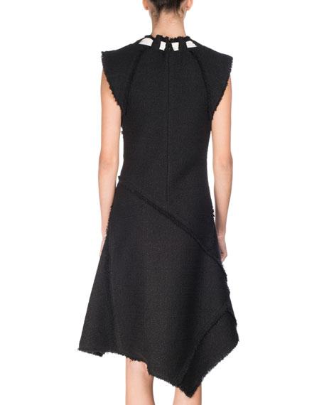 Asymmetric Fringed Tie-Neck Dress, Black