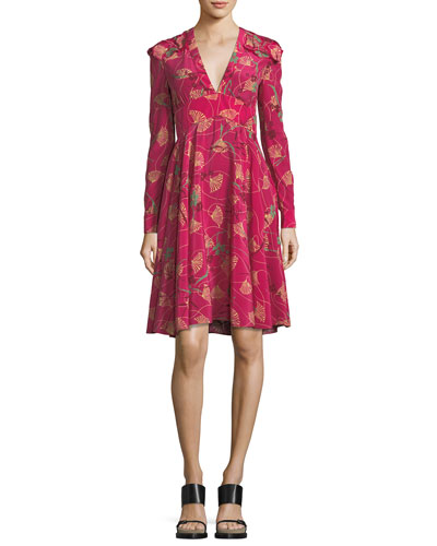Lotus-Print Silk V-Neck Dress