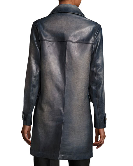 Ombre Leather Toggle Coat