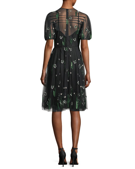 Lily of the Valley Embroidered Tulle Dress