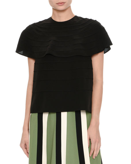 Short-Sleeve Pleated Silk Top, Black