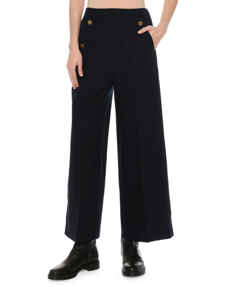Virgin Wool Button-Pocket Culotte Pants, Navy
