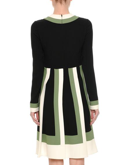 Long-Sleeve Colorblock-Pleated Dress, Multi