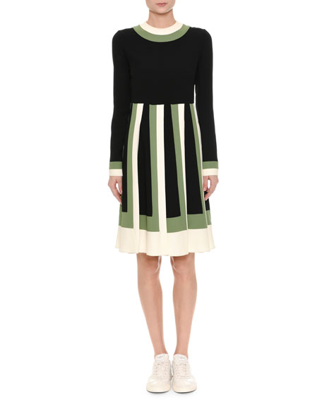 Valentino Long-Sleeve Colorblock-Pleated Dress, Multi