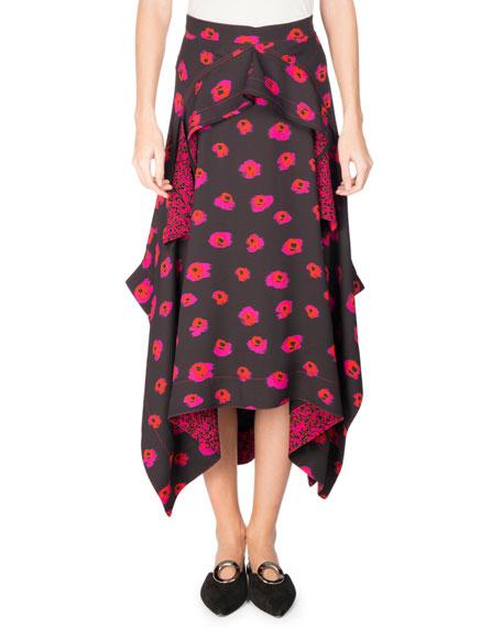Asymmetric Printed Georgette Midi Skirt, Multi Pattern