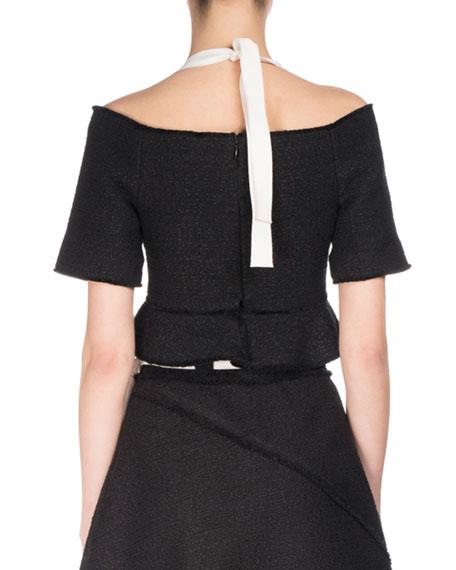 Off-Shoulder Tweed Halter Crop Top, Black