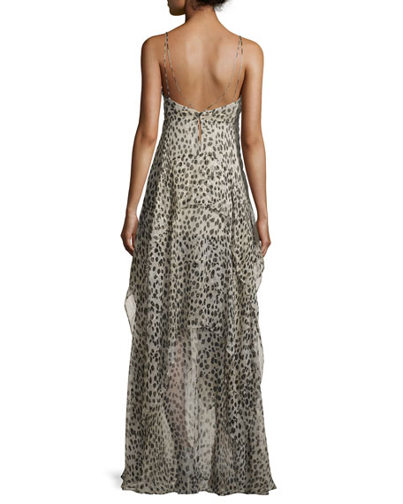 Leopard-Print High-Low Cami Gown