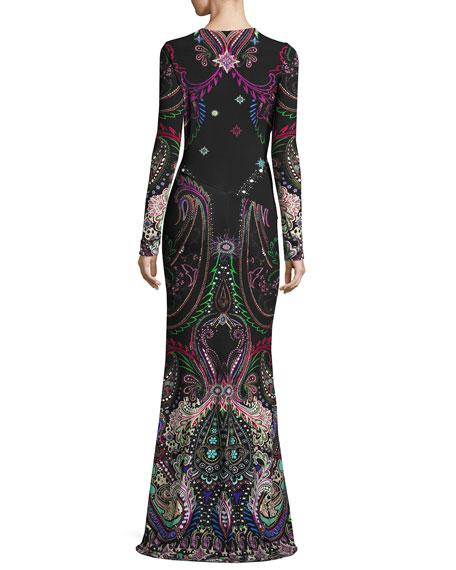 Magic Carpet Paisley-Print Long-Sleeve Gown, Black