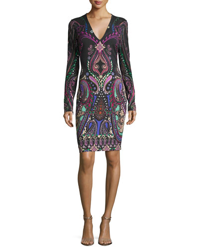 V-Neck Paisley Jersey Dress, Black
