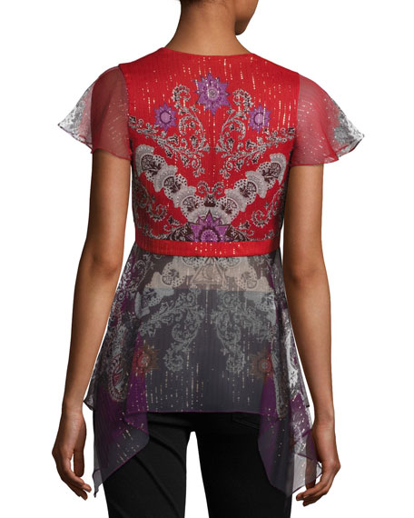 Paisley-Print Cap-Sleeve Top, Red