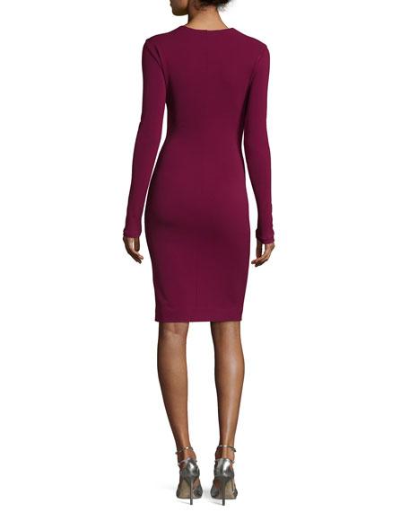 Sequined Long-Sleeve Jersey Dress, Purple Pattern