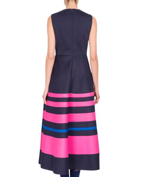 Sleeveless Decoupage Midi Dress, Blue