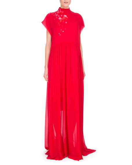 Bead-Embroidered Mock-Neck Georgette Gown, Red