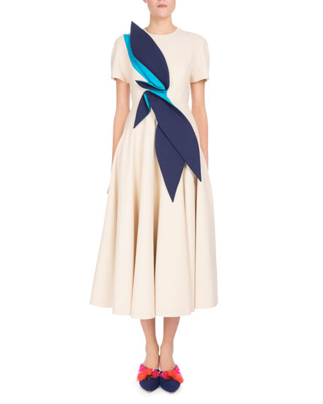85115934699b Delpozo Short-Sleeve Midi Dress w Leaf Detail