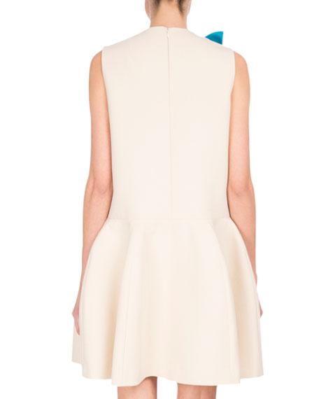 Sculptural V-Neck Drop-Waist Dress, White/Brown