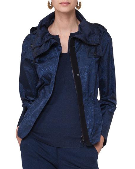 Short Hooded Jacquard Coat, Blue