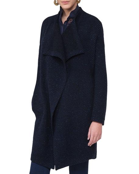 Belted Diagonal-Ribbed Coat, Blue