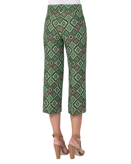 Madison Cropped Geometric-Print Pants, Multi