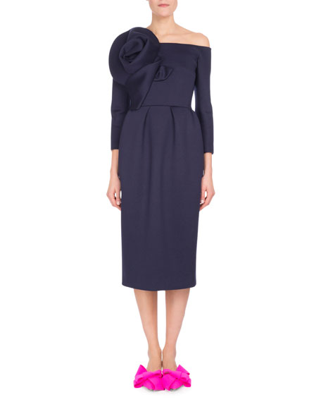 Delpozo Off-Shoulder 3/4-Sleeve Dress w/Rosette Detail, Blue