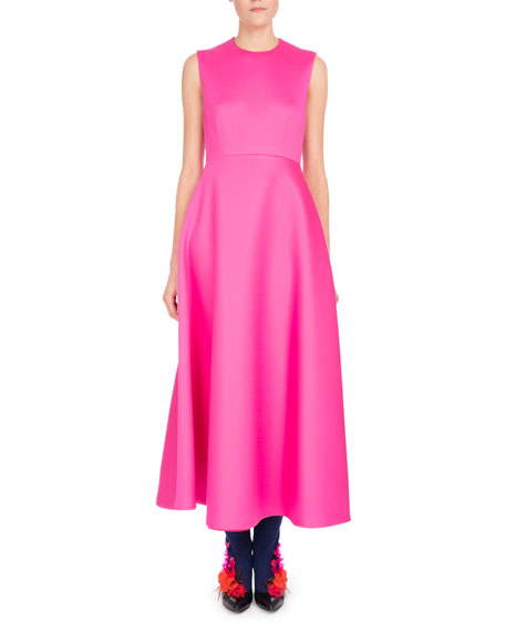 Sleeveless A-Line Midi Dress, Pink