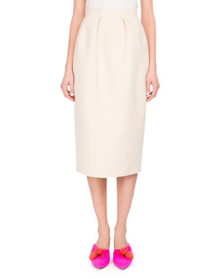 Pleated Cotton Pencil Skirt, White/Brown