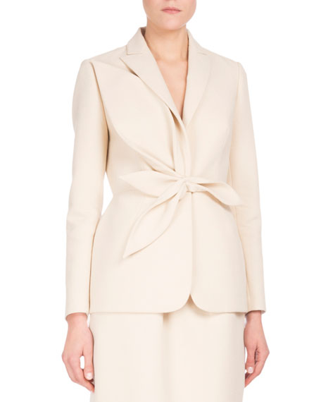Notch-Collar Blazer w/Leaf Detail, White/Brown