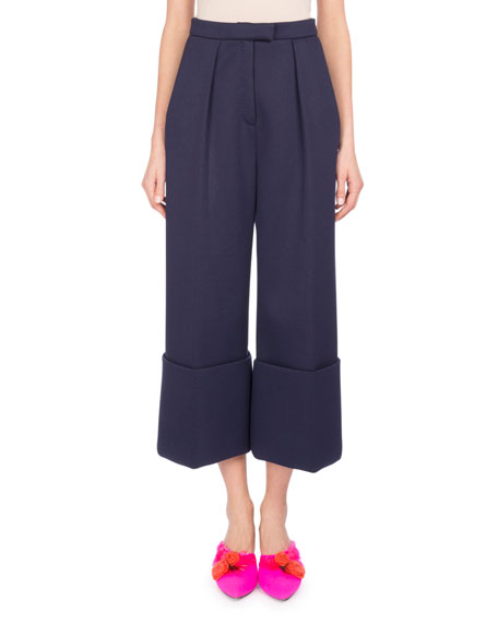 Cuffed Wide-Leg Pants, Blue