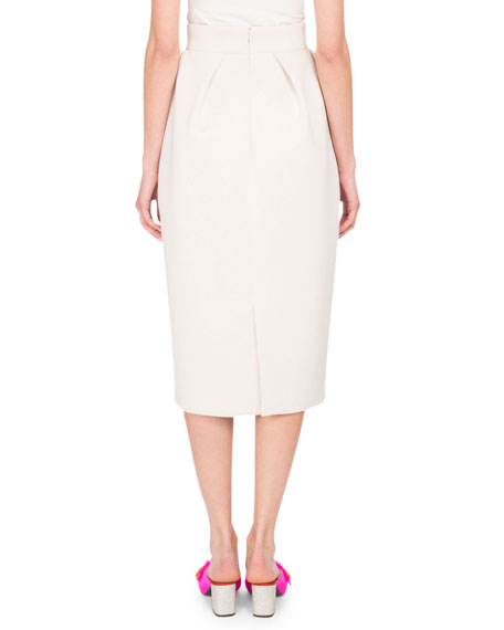 Neoprene Pencil Skirt, White
