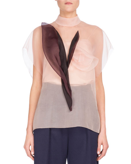 Mock-Neck Organza Blouse w/Leaves, Pink