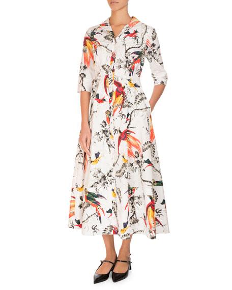 Kasia Bird-Print Midi Shirtdress, White Pattern