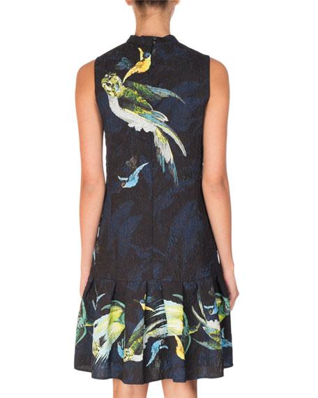 Nena Bird-Print Drop-Waist Dress, Black/Yellow