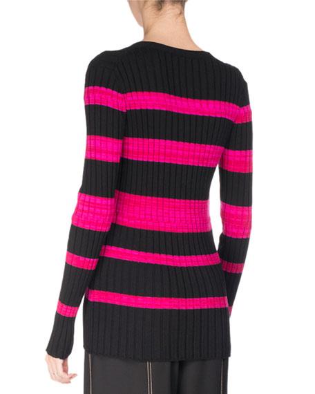 Ultrafine Striped Knit Cardigan, Pink/Black