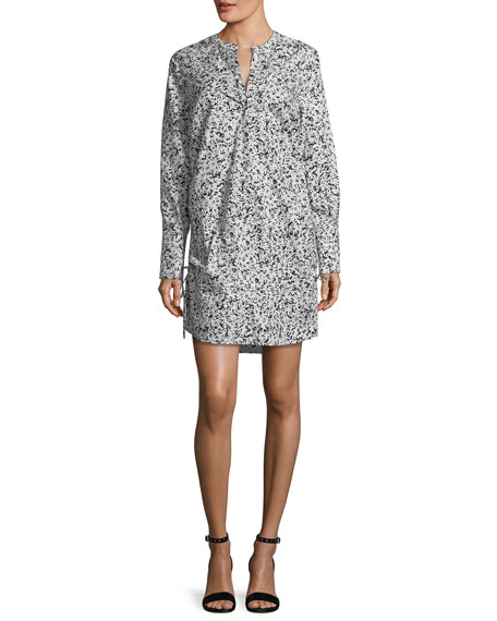 Long-Sleeve Printed Poplin Dress
