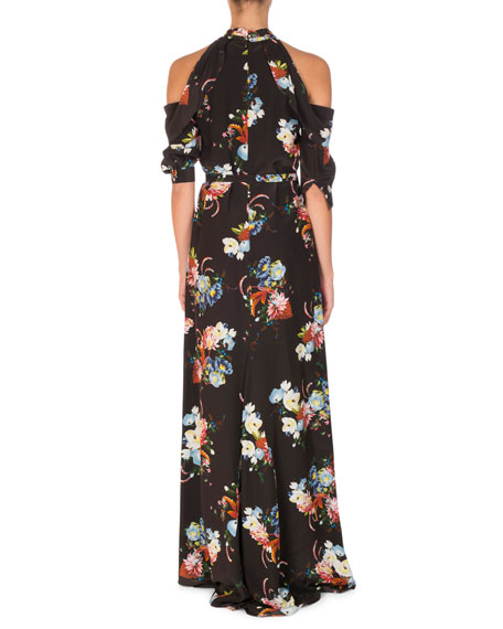Analiese Tie-Neck Cold-Shoulder Gown, Black Pattern