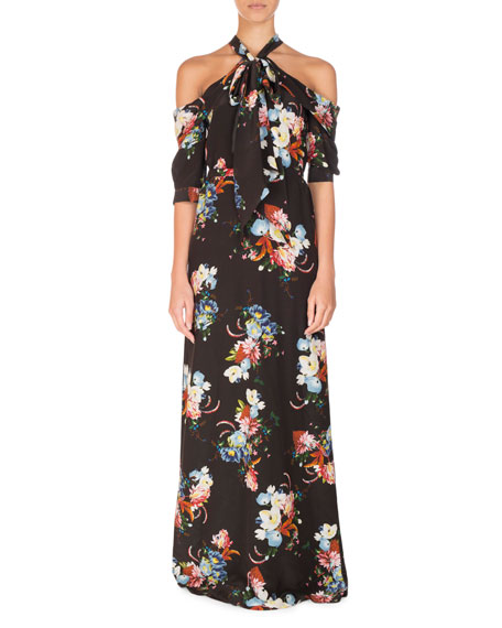 Erdem Analiese Tie-Neck Cold-Shoulder Gown, Black Pattern