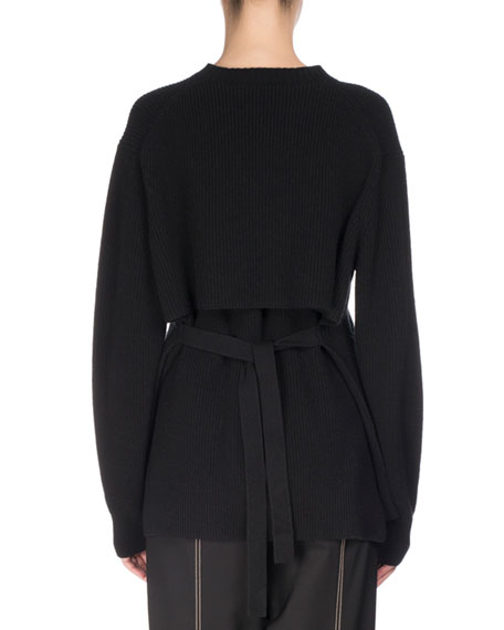 Slit-Front Ribbed Knit Sweater, Black