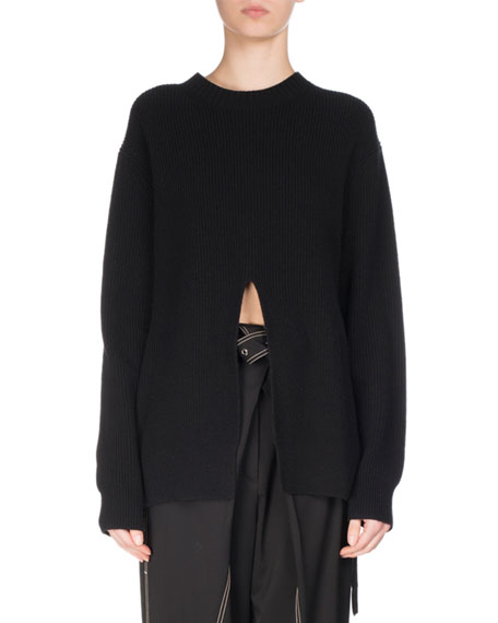 Slit-Front Ribbed Knit Sweater, Black