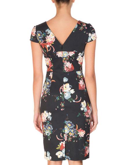 Marion Cap-Sleeve Sheath Dress, Black Pattern