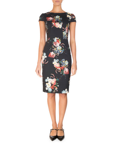 Marion Cap-Sleeve Sheath Dress, Black Pattern