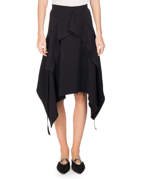Asymmetric Lightweight Crepe Skirt, Black