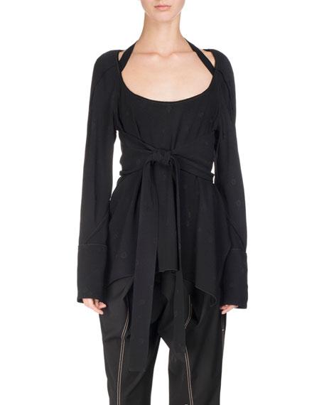 Long-Sleeve Tie-Front Halter Top, Black