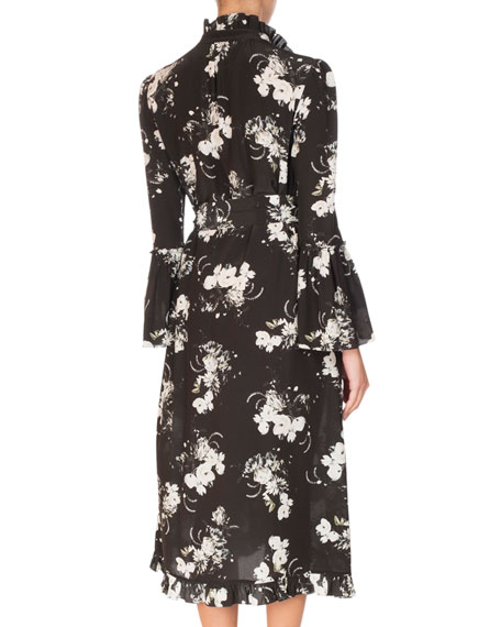 Siren Long-Sleeve Midi Dress, Black/White