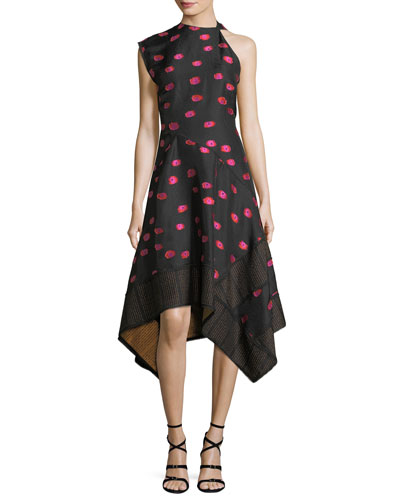 Asymmetric Fil Coupe Jacquard Dress