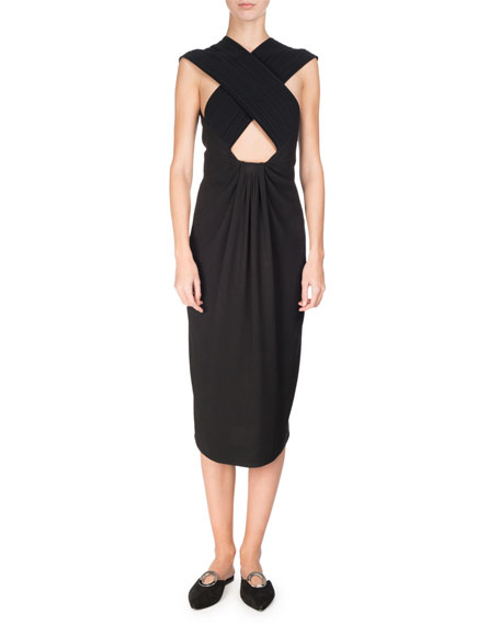 Cross-Front Sleeveless Pencil Dress, Black