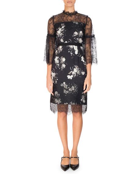 Kiya Lace-Trim 3/4-Sleeve Dress, Black/White