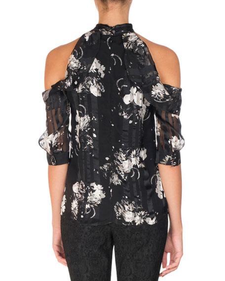Elin Floral-Print Cold-Shoulder Top, Black/White