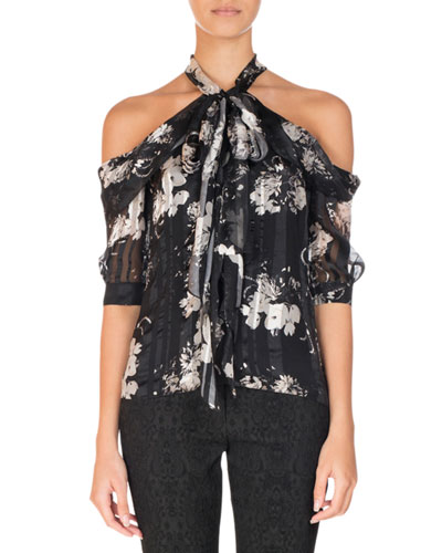 Elin Floral-Print Cold-Shoulder Top, Black/White