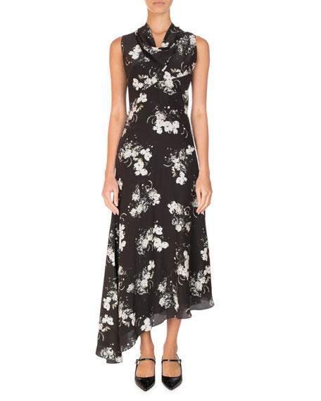 Milana Floral Cowl-Neck Midi Dress, Black/White