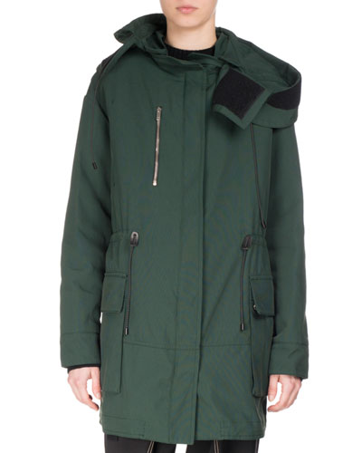 Hooded Canvas Parka, Green